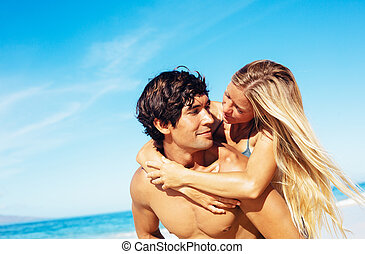 Couple at the Beach - Attractive Happy Couple On Beautiful...