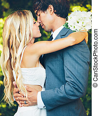 Romantic Wedding Couple - Romantic Wedding COuple Embracing...