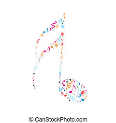 Abstract olour music notes