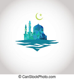 Colorful mosaic design - Mosque and Crescent moon, blue...