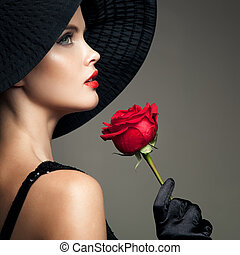 Beautiful Woman With Red Rose Retro Fashion Image