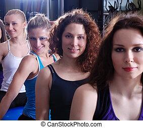 Klubba, flickor, nätt,  fitness