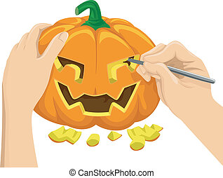 Pumpkin Carving - Cropped Illustration Featuring a Hand...
