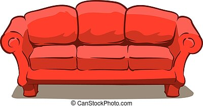 Couch - An Illustration of a big comfy red couch