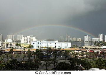 Rainbow over the Sunny Isles, Florida - Sunny Isles Beach is...