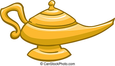 genie Lamp - An Illustration of a gold genie lamp