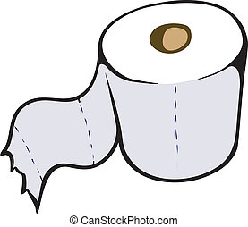 Toilet Paper - An Illustration of a single roll of toilet...