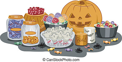 Halloween Treats - Illustration Featuring a Wide Variety of...