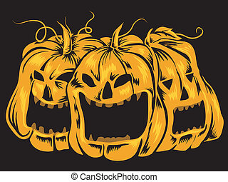 Jack-o'-Lanterns - Halloween-Themed Illustration Featuring...
