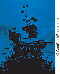 Ghost Ship Silhouette - Illustration Featuring the...