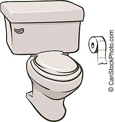 Toilet - An Illustration of a toilet and a roll of tissue