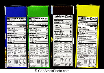 Cereal Nutritional facts label - Boxes of cereal and health...