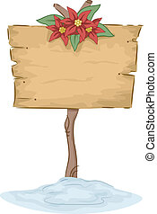 Poinsettia Sign Board - Illustration Featuring a Sign Board...