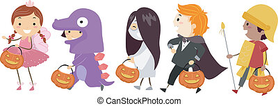 Halloween Costumes - Illustration Featuring Kids Wearing...