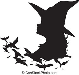 Witch Silhouette - Illustration Featuring the Silhouette of...