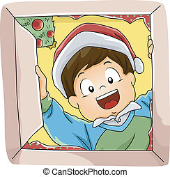Christmas Gifts - Illustration Featuring a Boy Opening His...