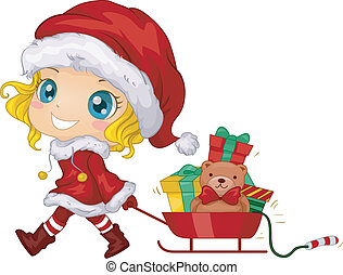 Christmas Gifts - Illustration Featuring a Girl Pulling a...