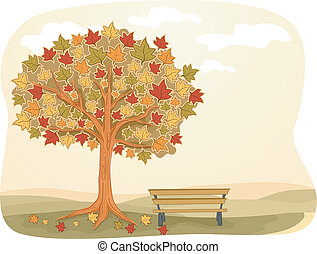 Autumn Bench - Illustration Featuring a Park Bench Installed...