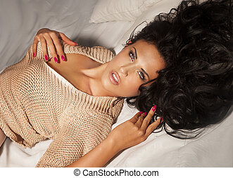 Sensual brunette woman relaxing - Elegant beautiful brunette...