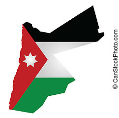 Jordan Flag - Flag of Hashemite Kingdom of Jordan overlaid...
