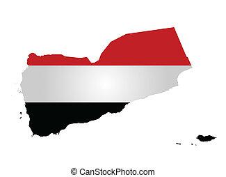 Yemen Flag - Flag of Republic of Yemen overlaid on outline...