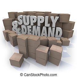 suministro, Demanda, 3D, palabras, cartón, Cajas,...