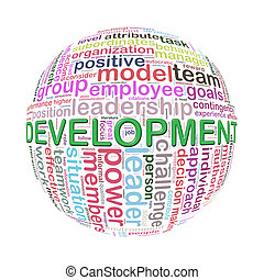 Wordcloud word tags ball of development - Illustration of...