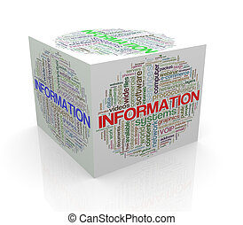 3d cube word tags wordcloud of information