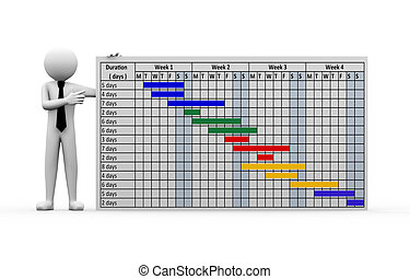 3d businessman project gantt chart presentation. - 3d...