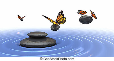 Zen stones - zen stones and butterfly  in 3d