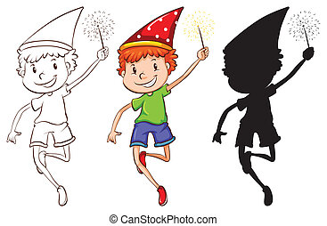 Sketches of a boy celebrating - Illustration of the sketches...