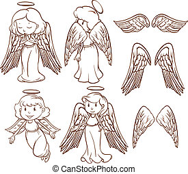 Angels - Illustration of different poses of angels