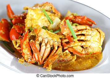 Stirred Fried Crab with Garlic, Pepper, Curry Powder