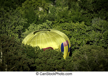 In the trees a hot balloon lands in a tight spot