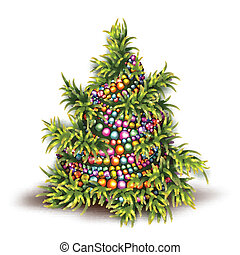 Vector illustration of Christmas fir-tree on white background