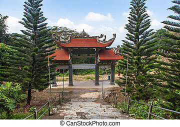 Main entrance gate to the Pagoda. Vietnam. - Main entrance...