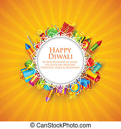 Happy Diwali - vector illustration of Happy Diwali card with...
