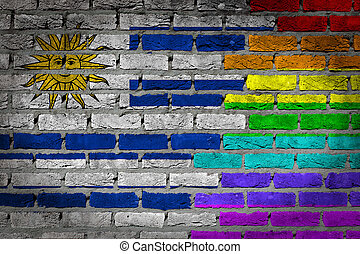 Dark brick wall - LGBT rights - Uruguay - Dark brick wall...