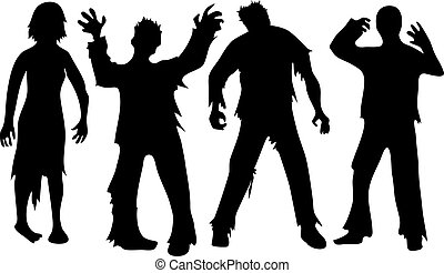zombie - Black silhouettes of zombies isolated on white