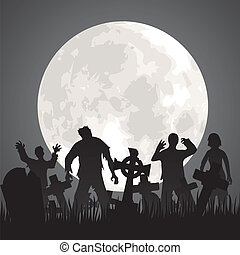 zombies - Halloween background with zombies, tombstones and...
