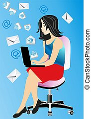 e-mail, - , composition with a girl who sends and receives...