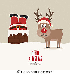 santa stuck in chimney vintage reindeer smile snow...