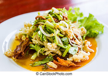 Spicy pork salad with vegetables. - Spicy pork salad with...