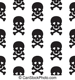 Skull Seamless pattern Vector background white black.
