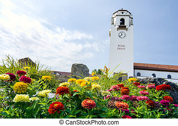 Train depot tower and summer flowers - Boise historic...