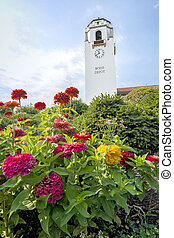 Boise Depot with colorful flowers - Colorfull summer flowers...