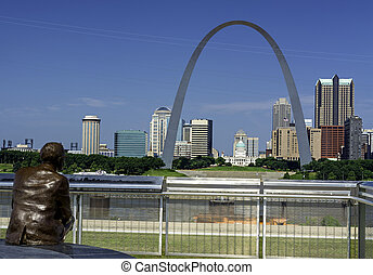 Likeness of Statue of Malcolm Martin and view of St Louis -...