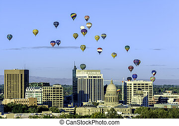 Many hot air ballons over the city of Boise Idaho - Hot air...