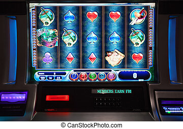 slot machine - close up view of slot machine in las vegas...