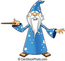 Blue Old Wizard - Pointing Wand - A cartoon illustration of...